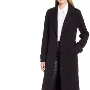 Kenneth Cole Ponte Trench Coat Modern Sleek 2186